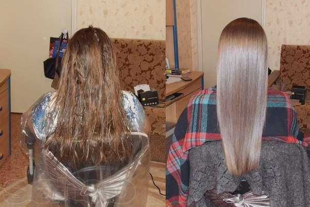 экранирование волос до и после