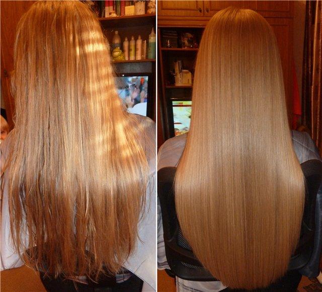 Маска для волос с желатином до и после