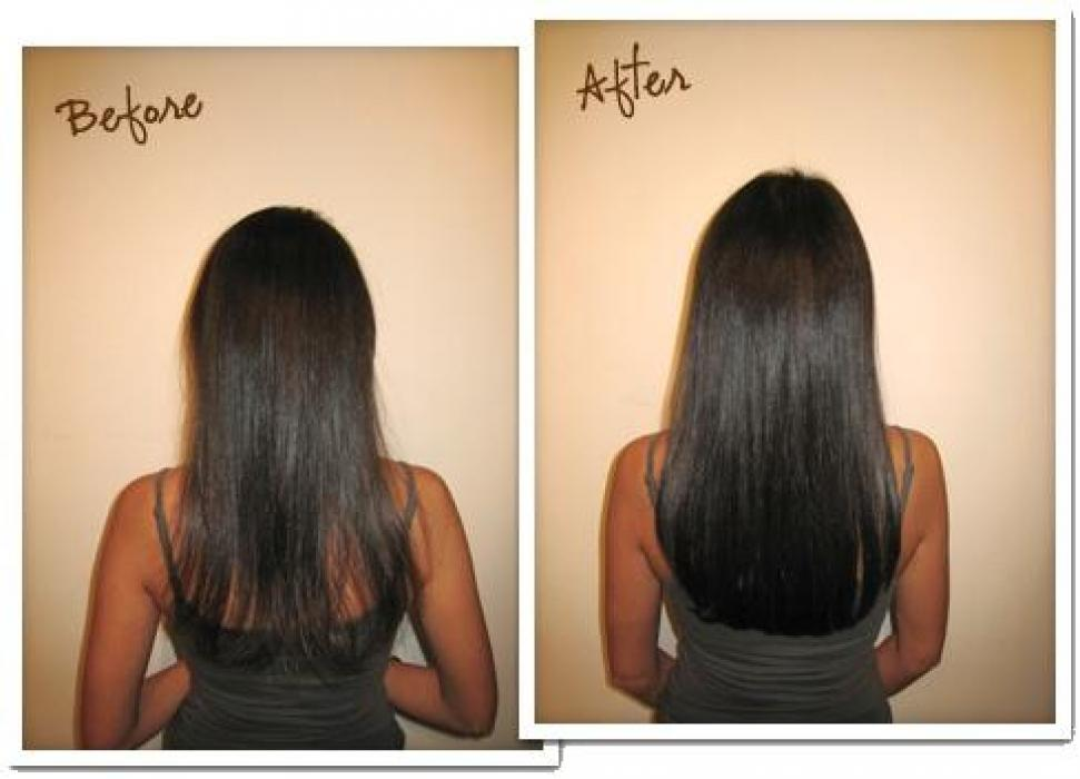Маска против выпадения волос до и после