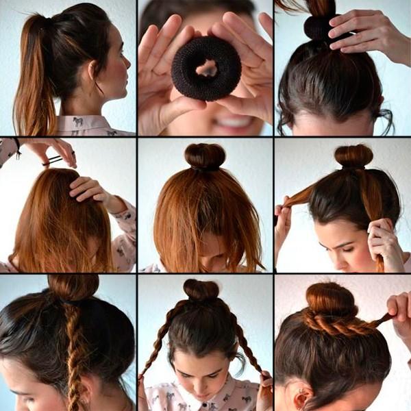 Девушка и валик для волос